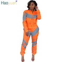 HAOYUAN Reflective Two Piece Set Tracksuit Women Rave Festival Neon Green Top+Pant Sweat Suit Sexy Club Outfits Matching Sets