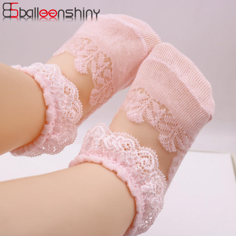 Balleenshiny Kids Socks For Girl Cute Lace Flower Mesh Summer Newborn Baby Socks Cotton Baby Girl Sock Laciness Anti Slip Socks