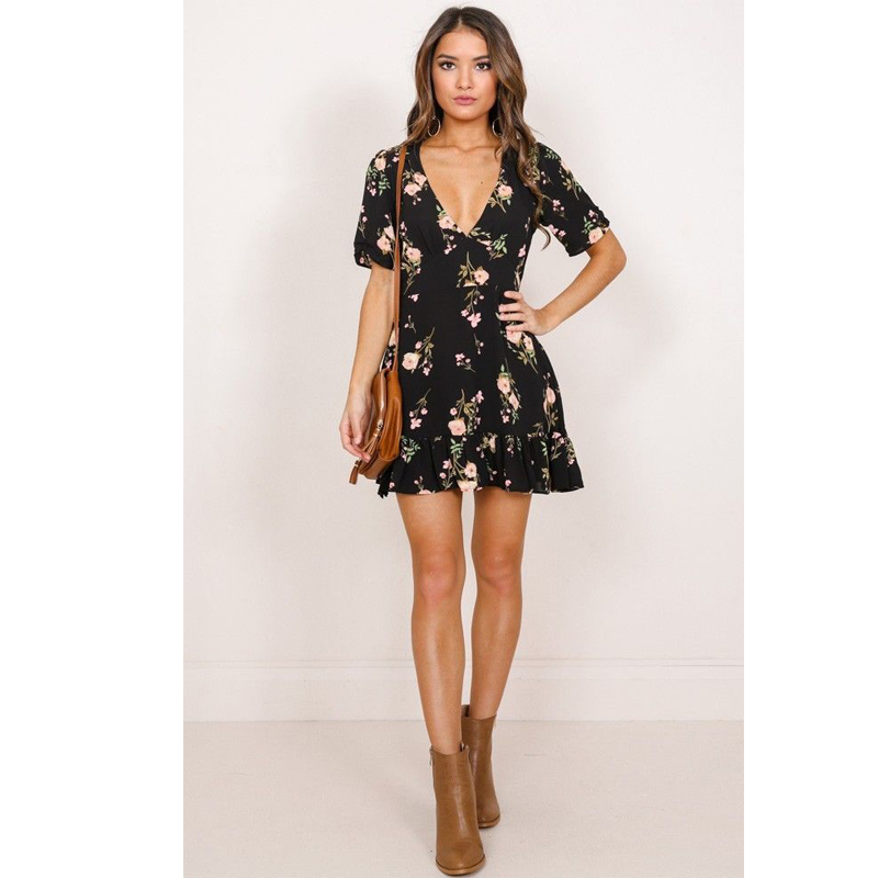 Women <font><b>Dress</b></font> 2018 Summer <font><b>Sexy</b></font> <font><b>Floral</b></font> <font><b>Print</b></font> Chiffon <font><b>Dress</b></font> <font><b>V</b></font> Neck <font><b>Boho</b></font> Style <font><b>Short</b></font> Party <font><b>Beach</b></font> Mini <font><b>Dresses</b></font> Vestidos de fiesta image