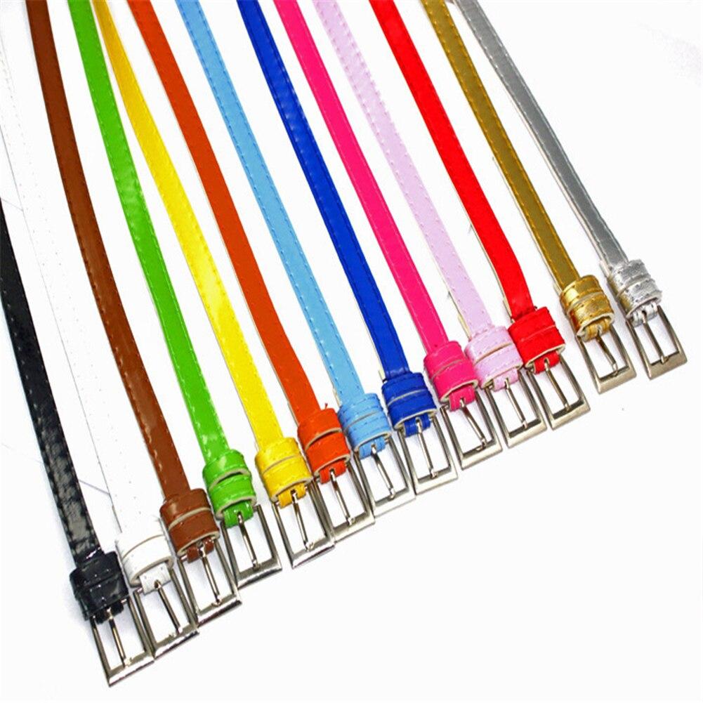 1 Pc Mode Frauen Candy Farbe Dünne Pu Leder Taille Schnalle Gürtel Damen Einfarbig Bund Tuch Zubehör