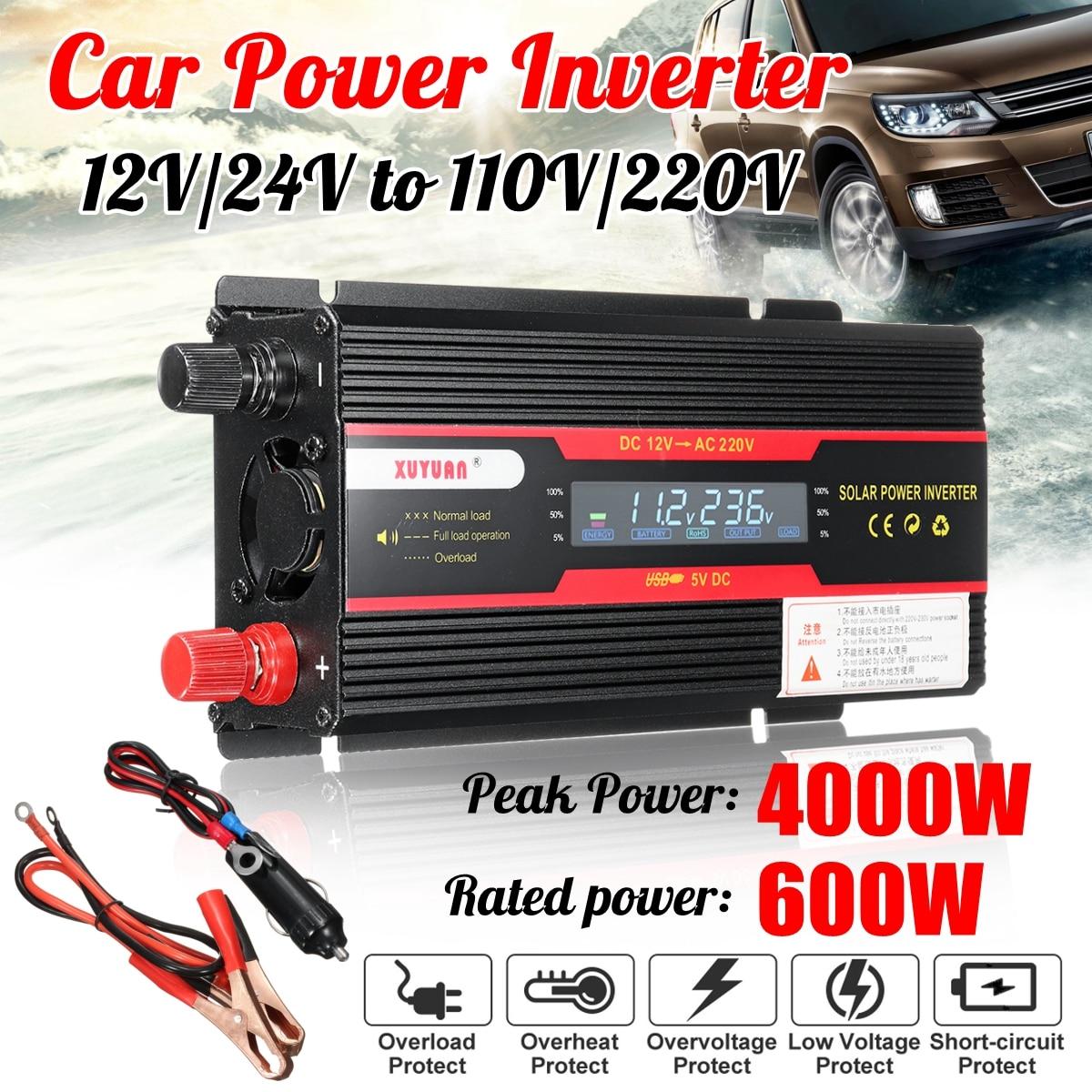 Car Inverter 12V 220V 4000W P eak Power Inverter Voltage Convertor Transformer DC 12V/24V To AC 220V/110V Solar Inversor 1pcs lot sh b17 50w 220v to 110v 110v to 220v