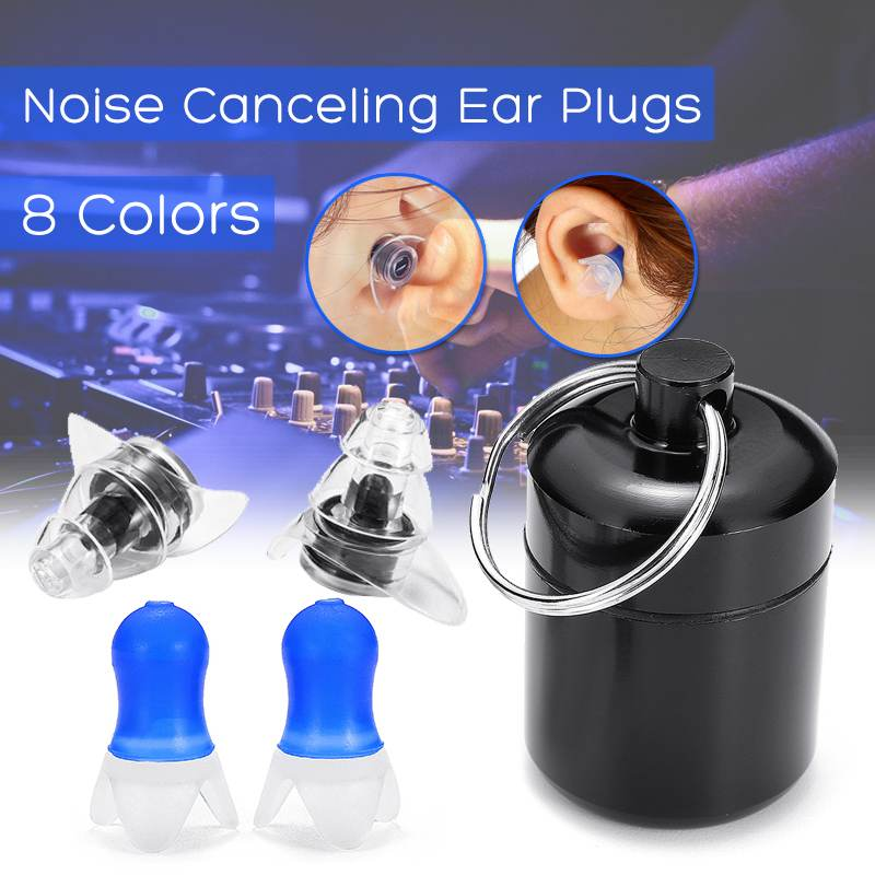 2 Pair Soft Silicone Ear Plugs Ear Protection Reusable Professional Music Earplugs Noise Prevention For Travel Sleep Sport
