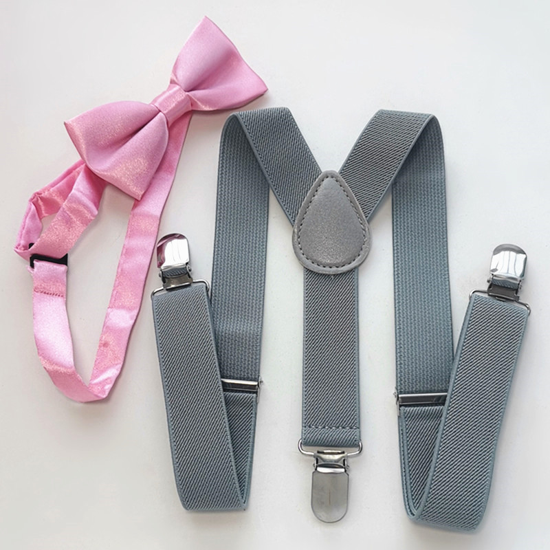 LB001-S Size Light Grey Color Suspender Bow Tie Sets Baby Adjustable 3 Cips 4 Clips Braces Neck Tie Set