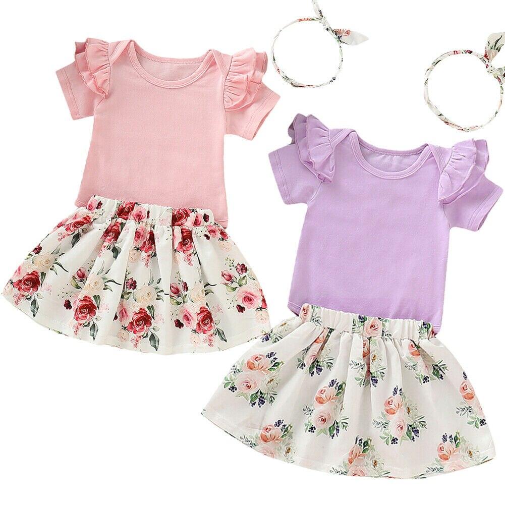 0-18 M Nette Neugeborene Baby Mädchen Kurzarm Baumwolle Strampler Tops Floral A-linie Rock Stirnband 3 Pcs Prinzessin Mädchen Kleidung Set