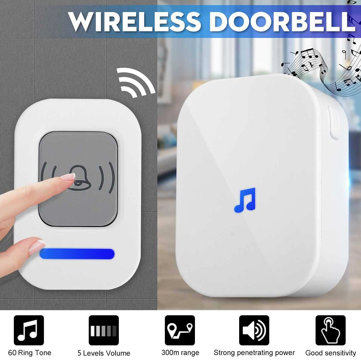 New Wireless Doorbell US UK Plug smart Door Bell 300M ringtones Chime 12V/23V alkaline battery 1 button 1 2 receiver ACNew Wireless Doorbell US UK Plug smart Door Bell 300M ringtones Chime 12V/23V alkaline battery 1 button 1 2 receiver AC