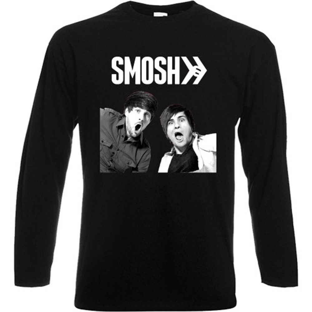 New SMOSH Famous Vlogger Video Maker Long Sleeve Black T-Shirt Size S-3XL