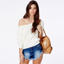 Brand Fashion Pullover Full Sleeve Solid Knitted Women Casual Off Shoulder Jumper Design Sweaters drop shoulder solid jumper