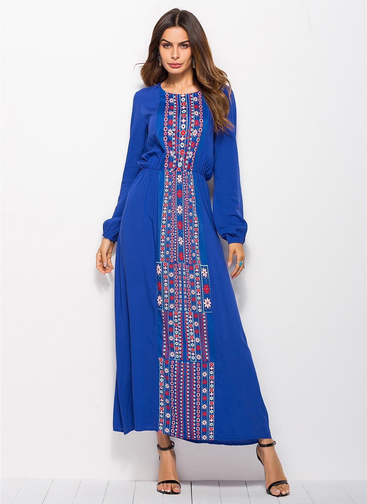 Image 4 - Stylish Muslim Abaya Print Maxi Dress Long Sleeve Long Dress  Ethnic Kimono Dresses Ramadan Middle East Arabic Islamic  ClothingIslamic Clothing