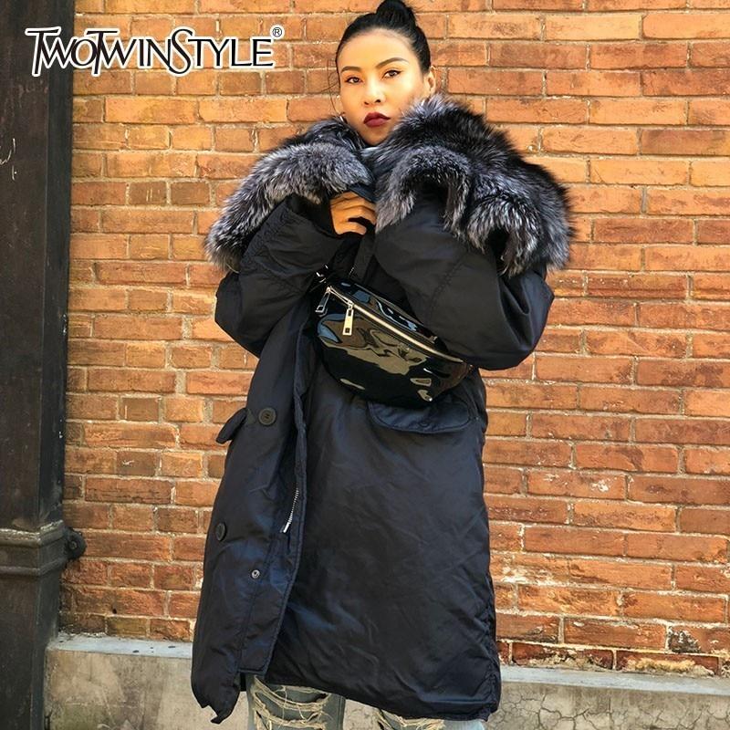 Deuxtwinstyle femmes hiver veste manteau femme à manches longues Patchwork fourrure vêtements d'extérieur à capuche pour les femmes Plus épais mode 2018 nouveau