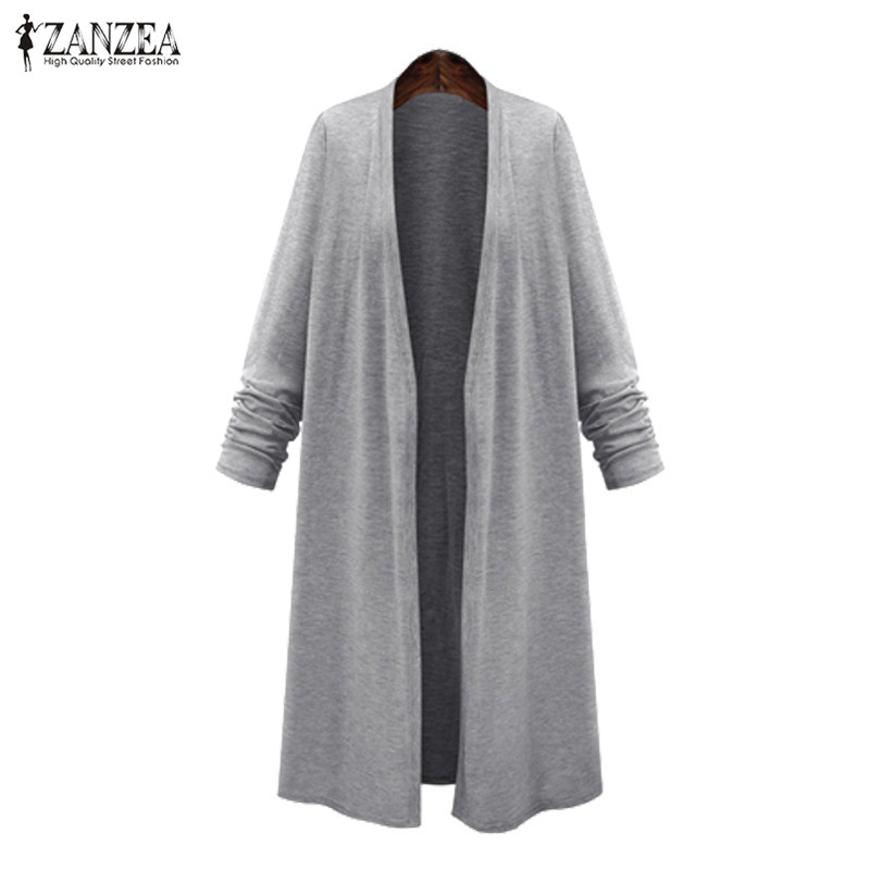 ZANZEA Plus Size Poncho Women Cardigan 2019 Spring Women Long Jackets Female Open Front Coats Cape Autumn Woman Coats Shirts 5XL