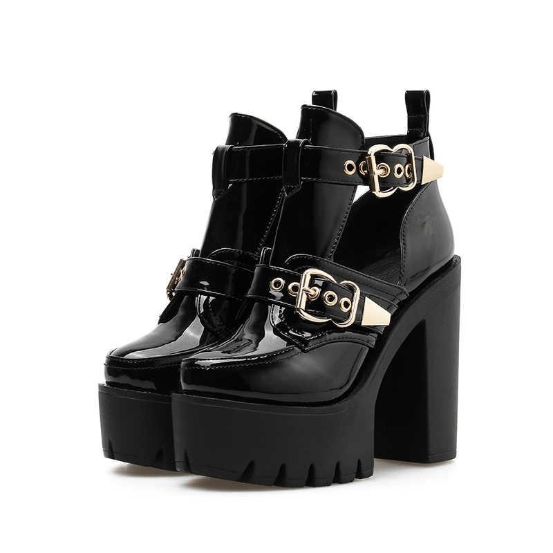 GBHHYNLH Moda yarım çizmeler platform ayakkabılar Yuvarlak Ayak bahar Çizmeler Kalın Yüksek Topuklu bahar ayakkabı Serseri Çizmeler Kadınlar için LJA573