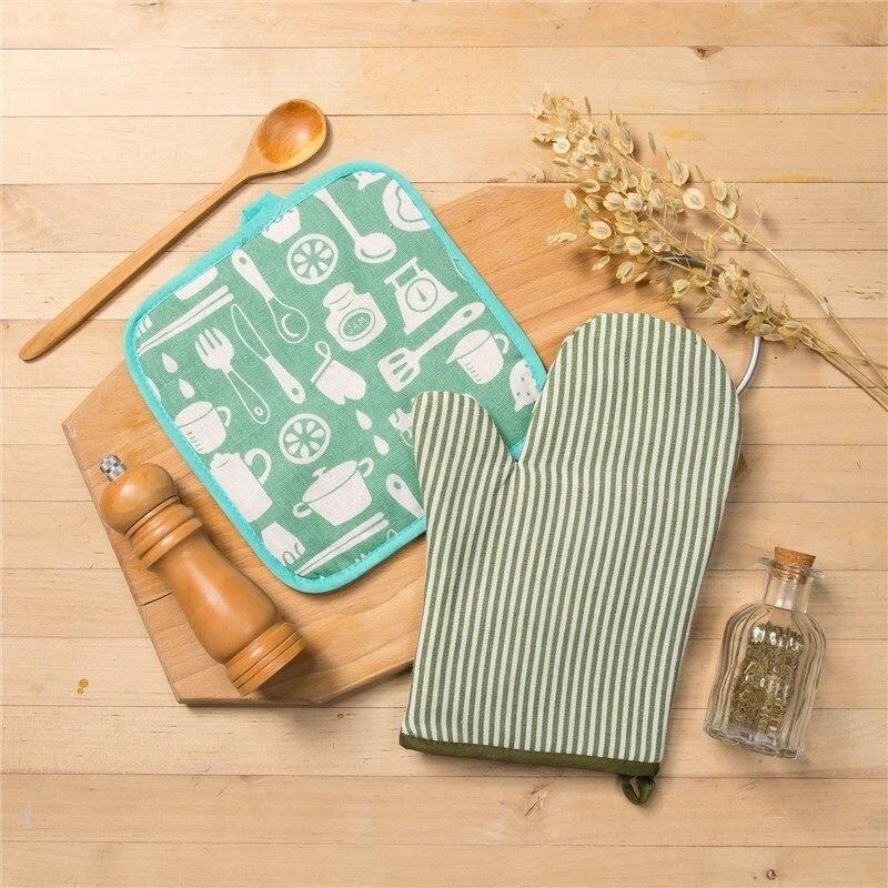 Set Доляна, варежка + potholder green stripe/Kitchen, 100% PE, рогожка 200 C/M 3580569 bralette stripe trim shirred bikini set