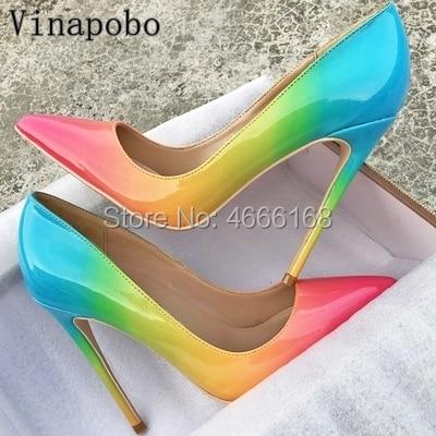 Women s Rainbow Color Shoes New Arrival Patent Leather Shallow Women Pumps Pointed Toe Fashion Stilettos