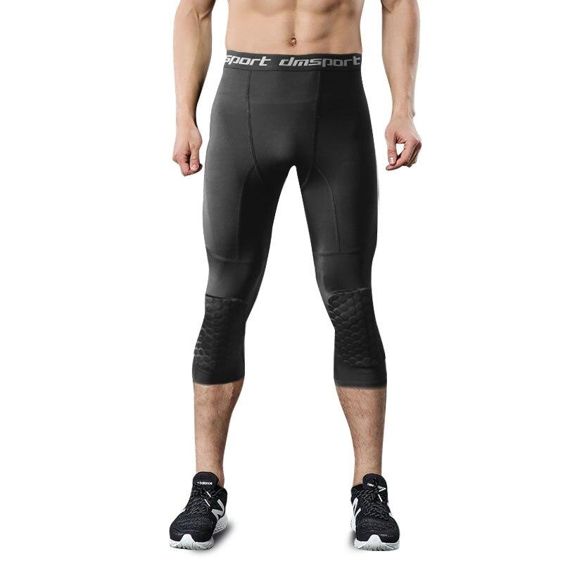 ee8082367cb68 Mens 3/4 Running Leggings Basketball Soccer Fitness Tight Pants Male High  Elastic Gym Sportswear