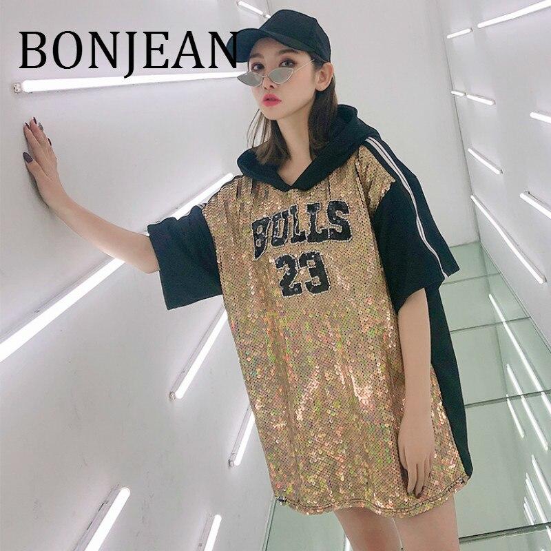 BONJEAN lettres imprimer chemise 2019 été hauts et t-shirts à manches courtes à capuche chemise avec Sequin Long t-shirt pour les femmes BJ988
