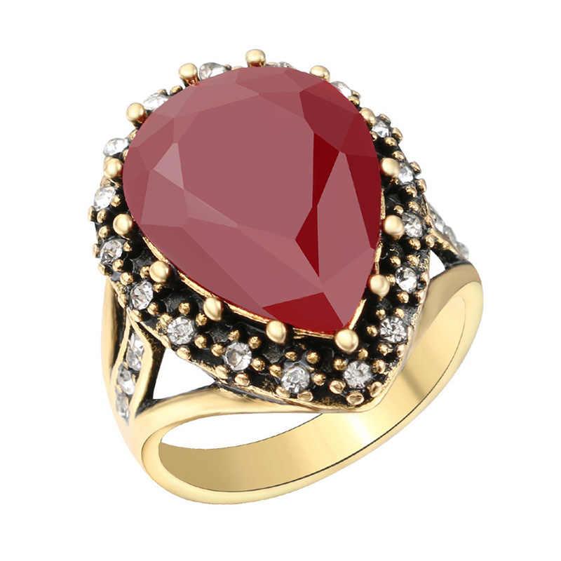 Hot โมเสคเจ้าสาวแหวนทองโบราณขนาดใหญ่สีดำสีแดงสีเขียวหิน Boho 1PC คริสตัลตุรกี Zircon สำหรับผู้หญิงเครื่องประดับ
