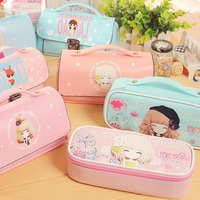 NEW Kawaii Lovely School Large Capacity PU Leather Portable Pencil Bag Case Girls Christmas Stationery Supplies Affordable