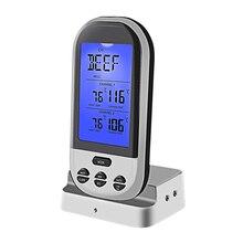 1 шт. беспроводной цифровой термометр с двойными зондами для барбекю, гриля, мяса коптильня