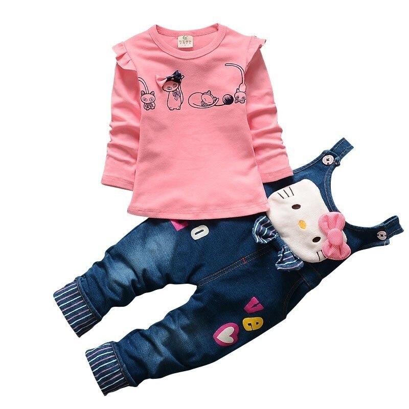 Meisjes Outfits 2019 Kids Kleding Peuter t-shirt en Totale Lente Set 2 PC Katoen Kinderen Mooie Jeans Overall 1 -4 leeftijden jongens