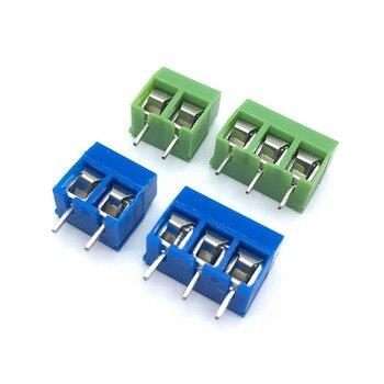 20 unids/lote KF301-5.0-2P 3P KF301 tornillo 2Pin 5,0mm Pin recto PCB Bloque de terminales de tornillo conector azul y verde