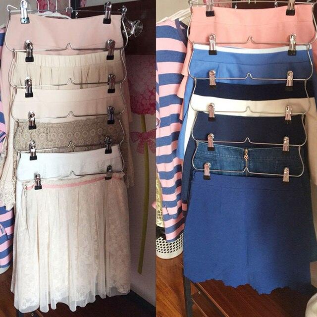 6 Layer Skirt E Saving Tie Rack Closet Organizer With Clips Foldable Hanger