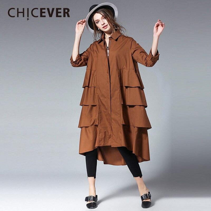 CHICEVER 2018 Spring Ruffles Women Dress Female Long Sleeve loose big Size Zipper Women's Dresses Shirt Sleeve Clothes Fashion