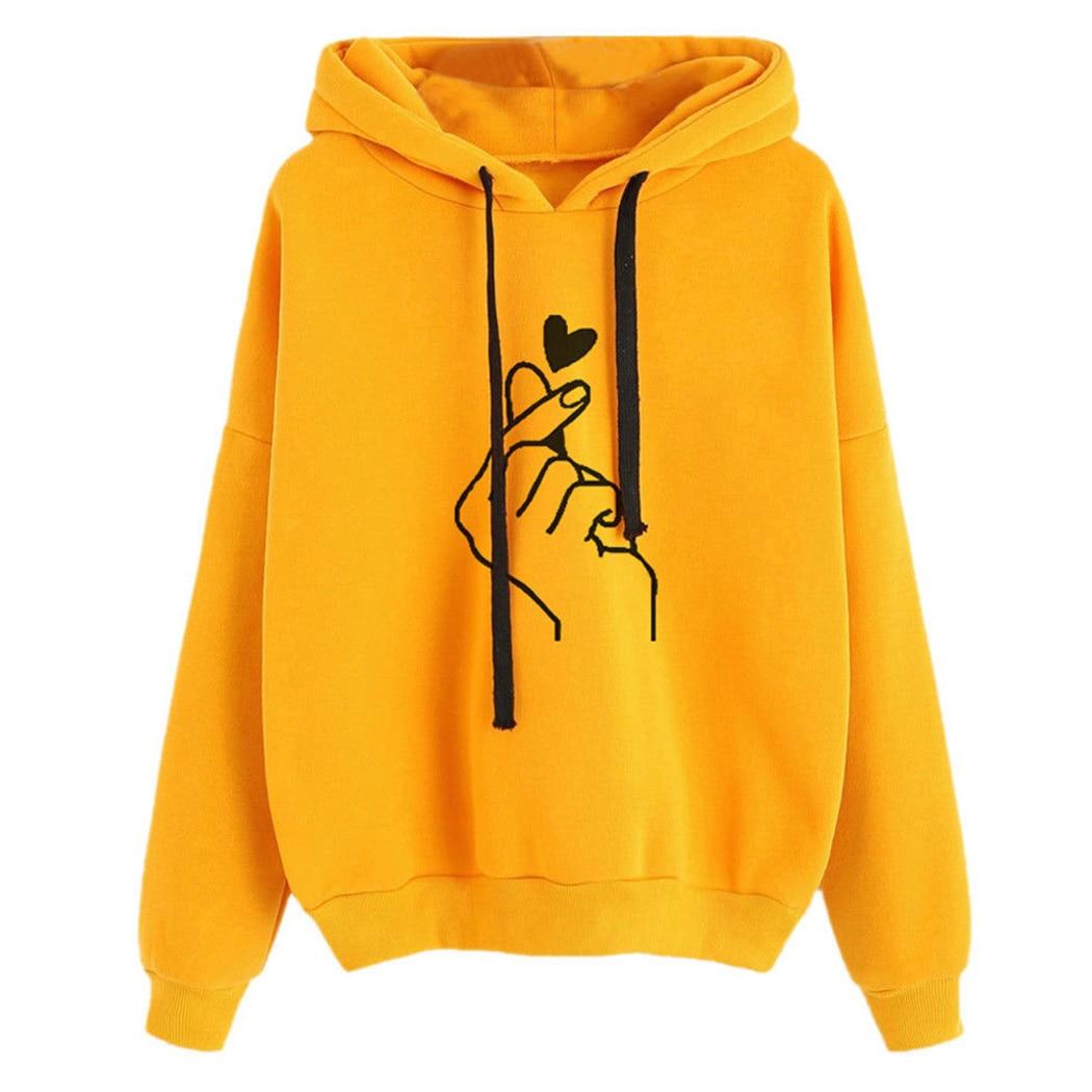Harajuku Rosa Frauen Hoodies Kawaii Liebe Herz Gedruckt Mit Kapuze Sweatshirt Kpop Tops Nette Damen Lose Pullover Streetwear Moletom