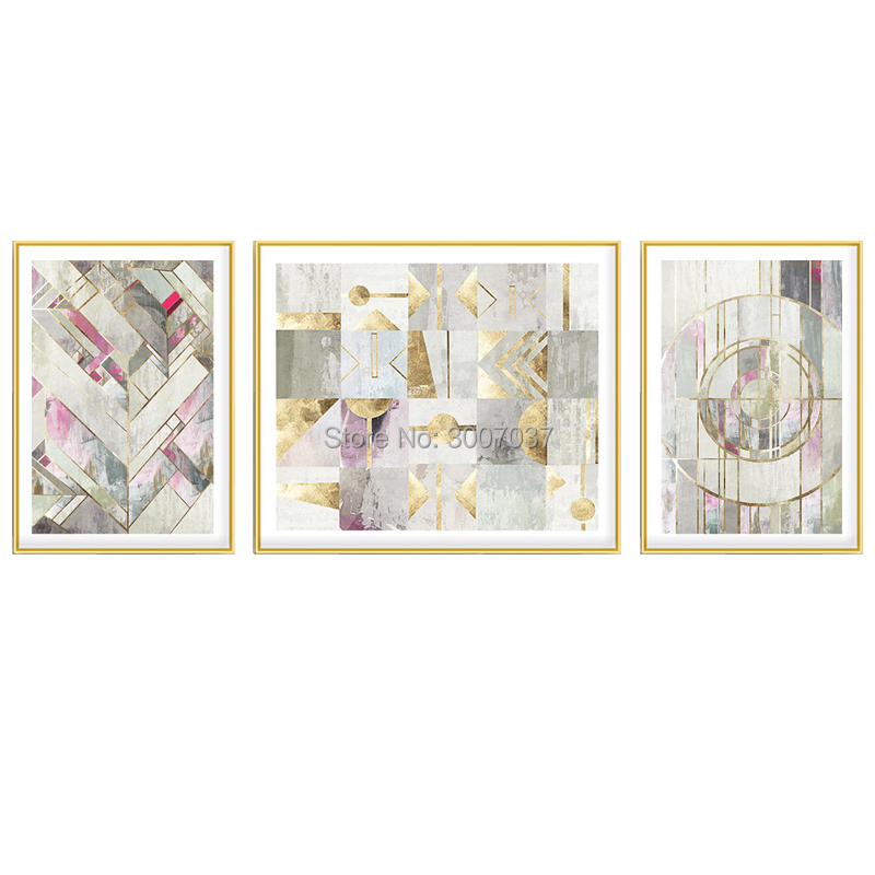 100% Hand Painted Modern Abstract Oil Paintings Home Wall Art Canvas Set Gold and Grey Color Artwork For Living Room Decor