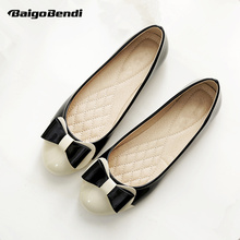 Plus Size 33-43 EUR 41 42 43 Bowknot Slip on Womens Ballet flats Girls Shallow Mouth Ballerina Pregnant Woman Shoes