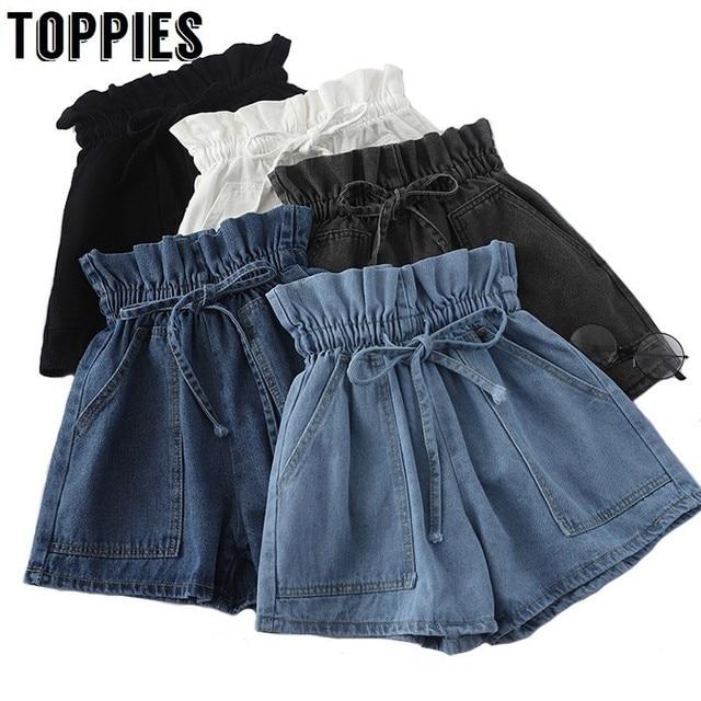 גבוהה מותן ניצן חצאיות נשים קוריאני שרוך מותניים קיץ ג 'ינס מכנסיים קצרים מוצק צבע ז' אן מכנסיים Streetwear