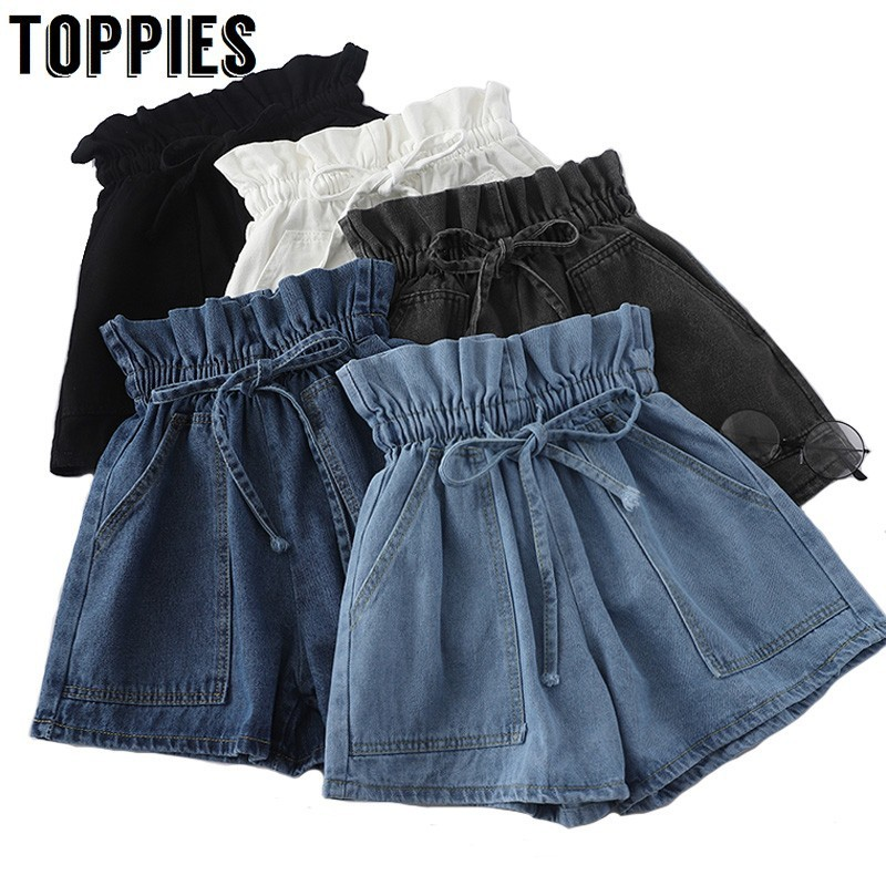 High Waist Bud Skirts Womens Korean Drawstring Waist Summer Denim   Shorts   Solid Color jean   shorts   Streetwear