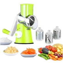 Manual Speedy Rotared Vegetable Fruit Cheese Nut Slicer Cutter Shredder Grinder With 3 Interchangeable Round Stainless Steel B