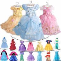 Bambini Comic con Elsa Cosplay Principessa Rapunzel Dress up Ragazze Halloween Jasmine Cenerentola Costume Bambini Moana Belle Abbigliamento