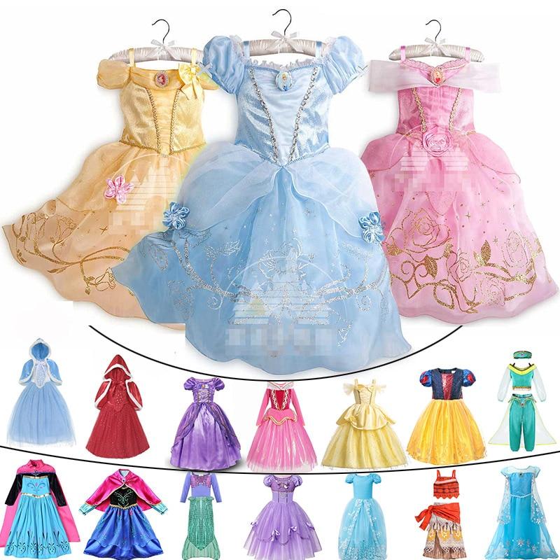 Children Comic Con Elsa Cosplay Princess Rapunzel Dress Up Girls Halloween Jasmine Cinderella Costume Kids Moana Belle Clothing