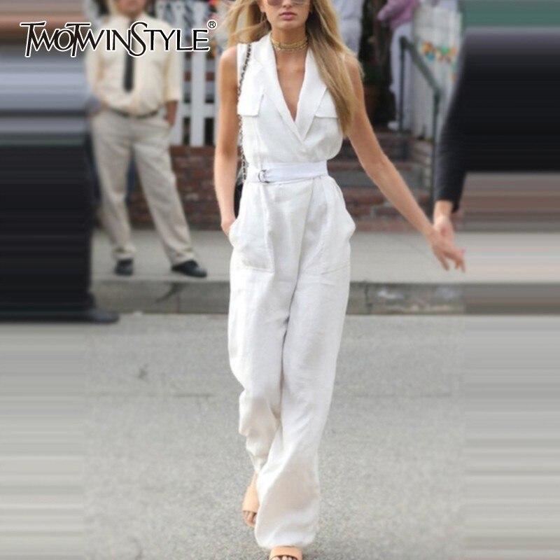 TWOTWINSTYLE Solid Sleeveless Women Jumpsuit Lapel Sleeveless High Waist Sashes Big Size Female Pants Spring 2020 Fashion New