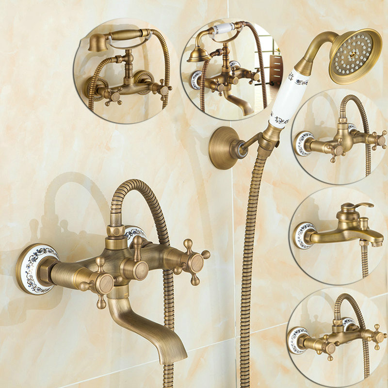 Antique Brushed Brass Bath Faucets Wall Mounted Bathroom Basin Mixer Tap Crane With Hand Shower Head Bath & Shower FaucetAntique Brushed Brass Bath Faucets Wall Mounted Bathroom Basin Mixer Tap Crane With Hand Shower Head Bath & Shower Faucet