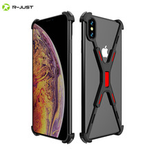цена R-JUST Aluminum Metal Bare Frame Case For iPhone XR XS MAX Shockproof X Shape Bumper Cover For iPhone XS Max X XR Protect Case онлайн в 2017 году