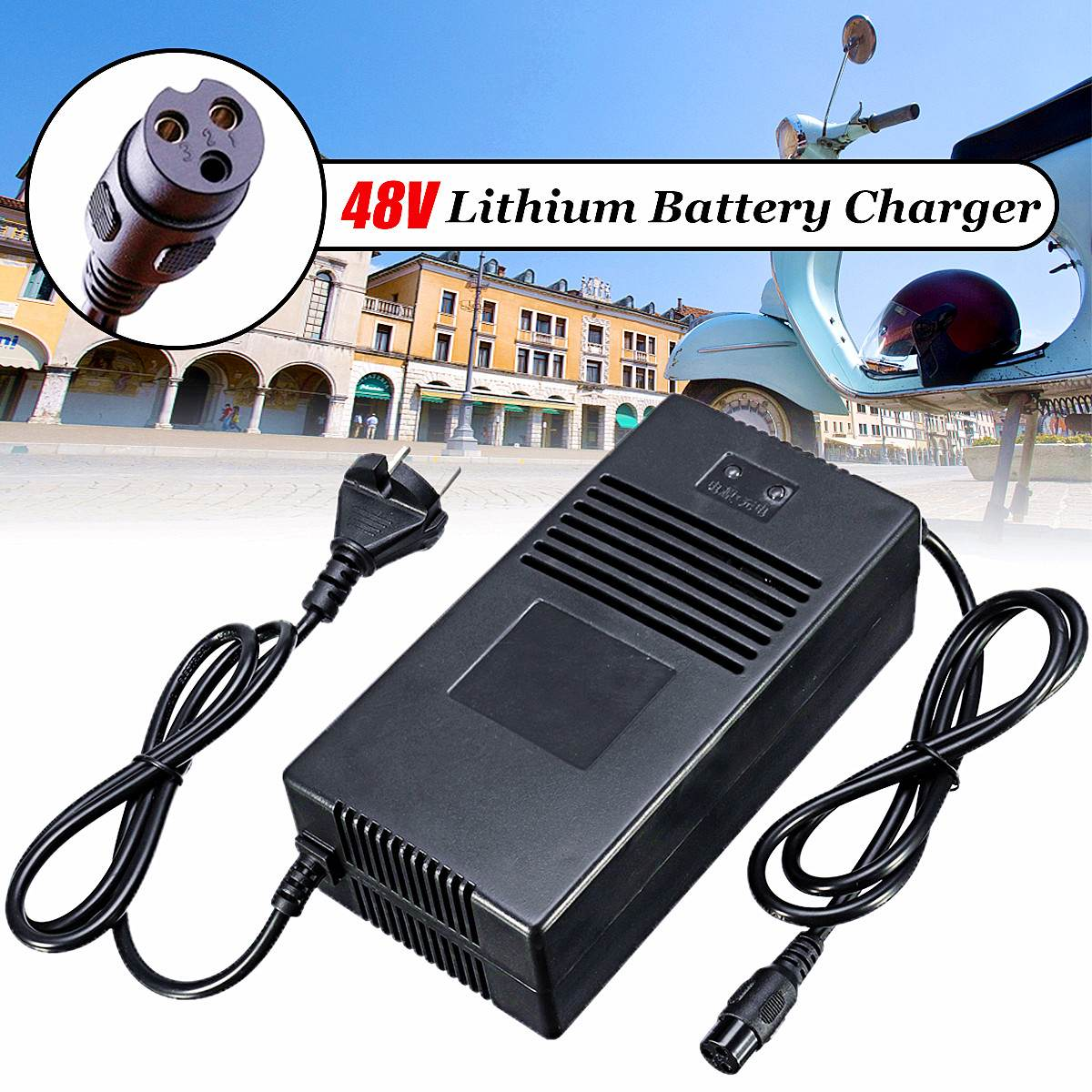 54.6V 4A Smart Lithium Battery Charger For 48V Lipo Li ion Electric Bike Scooter Power Tool Quick Charge Function