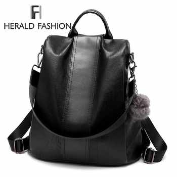 Herald Fashion Casual Leather Women Anti-theft Backpack Quality Vintage Backpacks Female Larger Capacity Travel Shoulder Bag Sac - DISCOUNT ITEM  40% OFF All Category