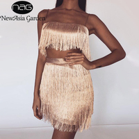 NewAsia Summer Two Piece Set Sexy Crop Top And Skirt Set 2 Piece Set Women Outfits 2019 Party Club Wear Matching Sets Black Red