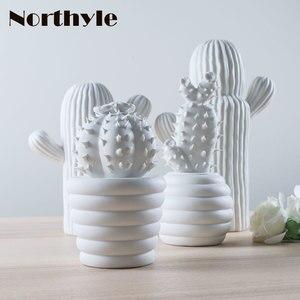 Image 3 - Moderne weiß keramik kaktus dekoration weihnachten geschenk figuren porzellan kunst handwerk für home ornament zubehör feng shui decor