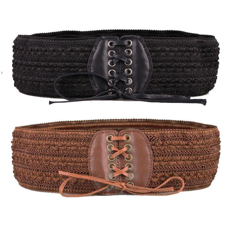 Vintage Women Double Elastic Buckle Stretch Waistband Corset Wide Waist Belt