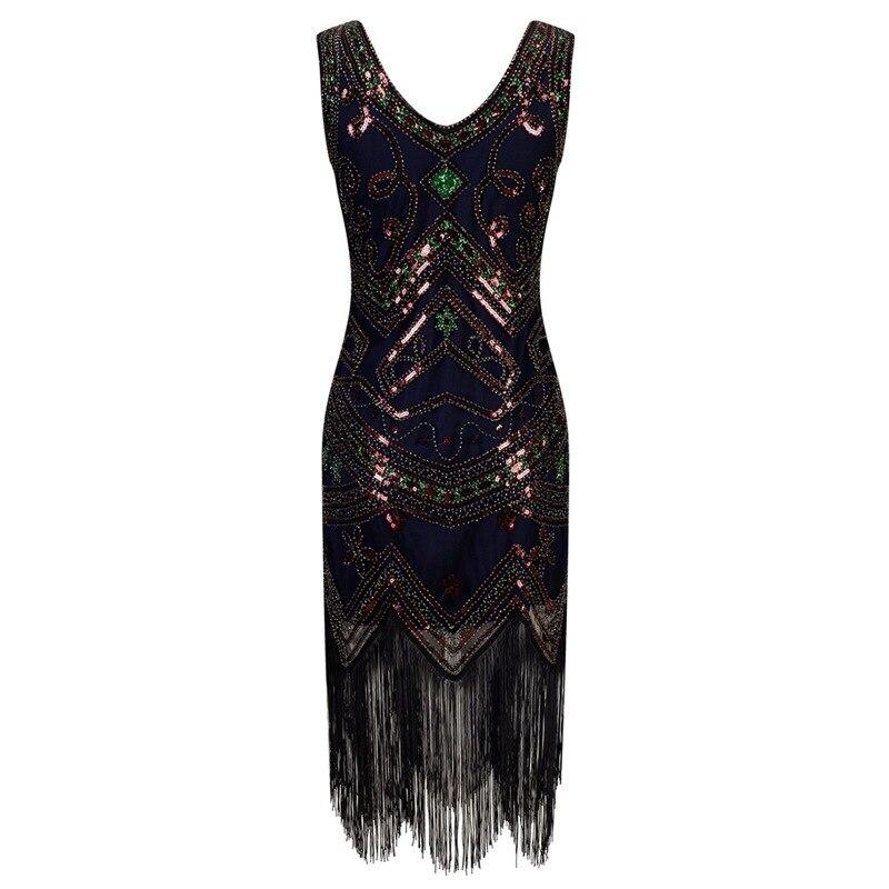 U-SWEAR été femmes 1920s Gastby Sequin Art Nouveau orné robe à franges grande taille clapet robes Vestidos De Fiesta