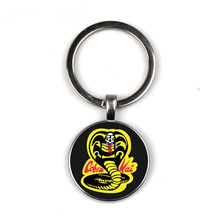 Cobra Kai Keychain Glass Time Gem Key Jewelry DIY Custom Photo Personality Gift personalized Keychains gifts for men