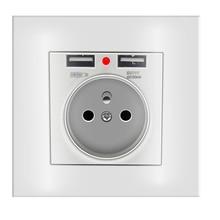 2A デュアル USB ポート壁の充電器アダプタ充電壁の充電器アダプタ EU プラグ 86 AC 電気電源ソケット電源コンセント白
