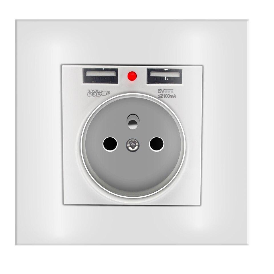 2A de puerto Dual USB adaptador/cargador de pared de carga adaptador/cargador de pared de enchufe de la UE 86 energía eléctrica AC zócalo blanco Tacto suave de aleación de aluminio de Metal Butt Plug con joyas de cristal Pequeño medio No enchufe anal vibrador artículos privados para hombres