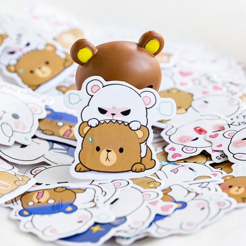 45Pcs/Box Cute Bear Stickers Kawaii Stationery Stickers Lovely Cartoon Adhesive Stickers For Decorative Bullet Journal Diary