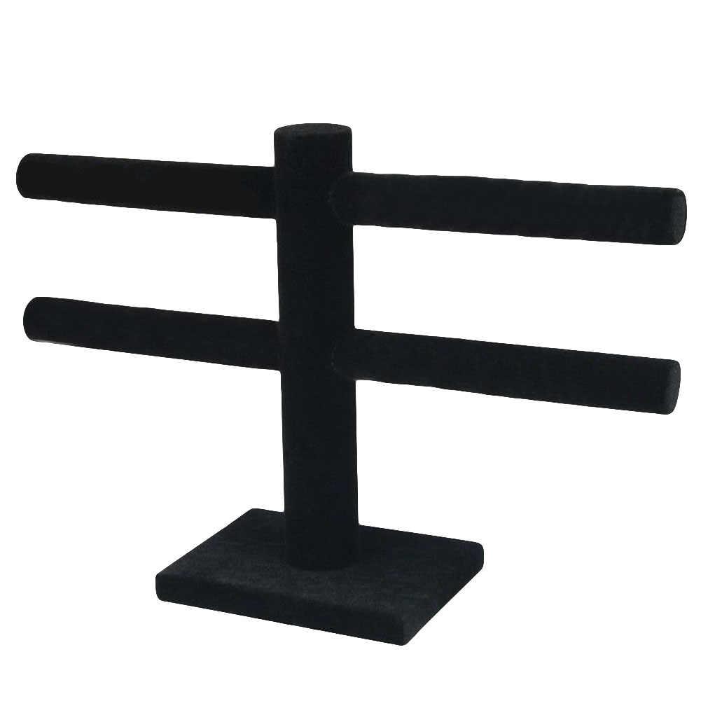 2 уровня с центральным ремешком в виде буквы т бархат ювелирные изделия Стенд Серьги Органайзер для ожерелий Дисплей держатель