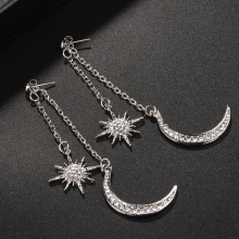 1 Pair Shiny Crystal Dangle Earrings Ladies Star Moon Earrings Charming Earrings Women Gold Silver Jewelry Long Drop Earrings
