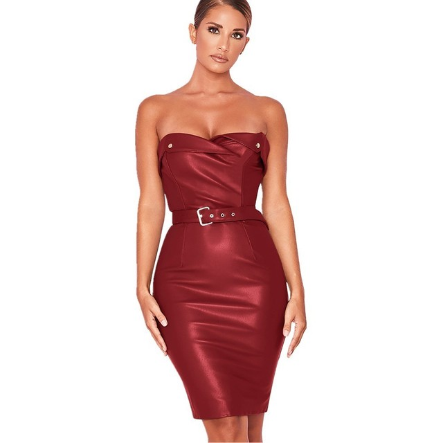 cac88dd71b6 VITIANA Women Short Sexy Party Dress Female 2018 Summer Sleeveless Red Blue  Strapless Bodycon Mini Pu Latex Club Wear Dress Sale
